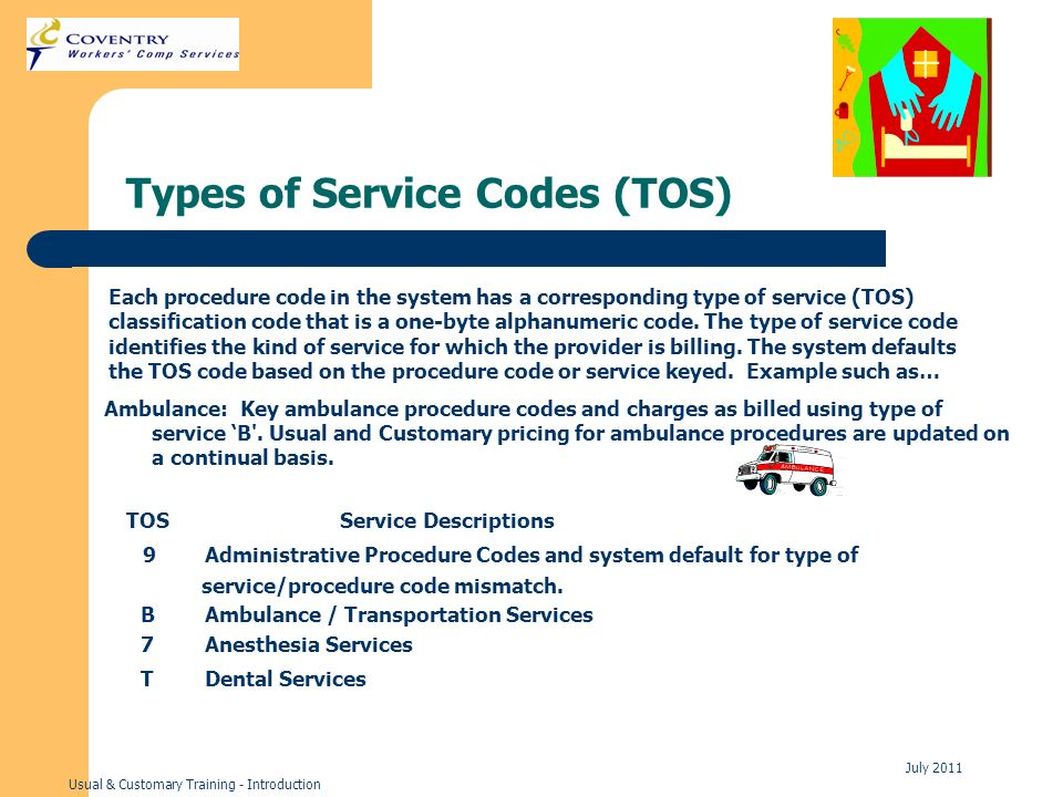 Usual & Customary Training - Introduction July 2011 Types of Service Codes (TOS) Each procedure code in the system has a corresponding type of service (TOS) classification code that is a one-byte alphanumeric code.
