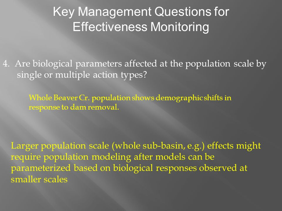 Key Management Questions for Effectiveness Monitoring 4.