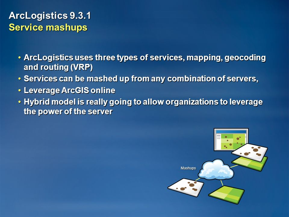 ArcLogistics Service mashups ArcLogistics uses three types of services, mapping, geocoding and routing (VRP)ArcLogistics uses three types of services, mapping, geocoding and routing (VRP) Services can be mashed up from any combination of servers,Services can be mashed up from any combination of servers, Leverage ArcGIS onlineLeverage ArcGIS online Hybrid model is really going to allow organizations to leverage the power of the serverHybrid model is really going to allow organizations to leverage the power of the server Mashups