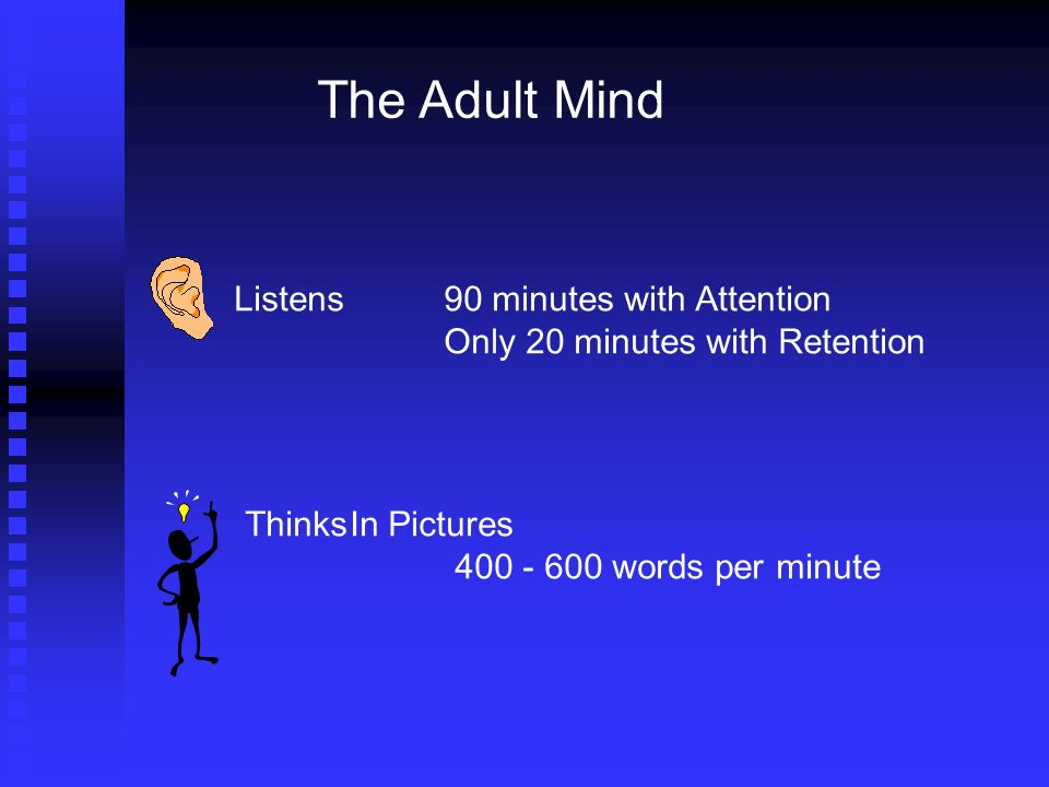 The Adult Mind Listens90 minutes with Attention Only 20 minutes with Retention ThinksIn Pictures words per minute