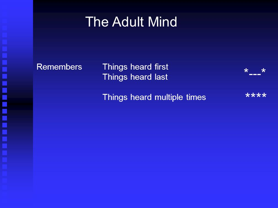 The Adult Mind RemembersThings heard first Things heard last Things heard multiple times * --- * ****