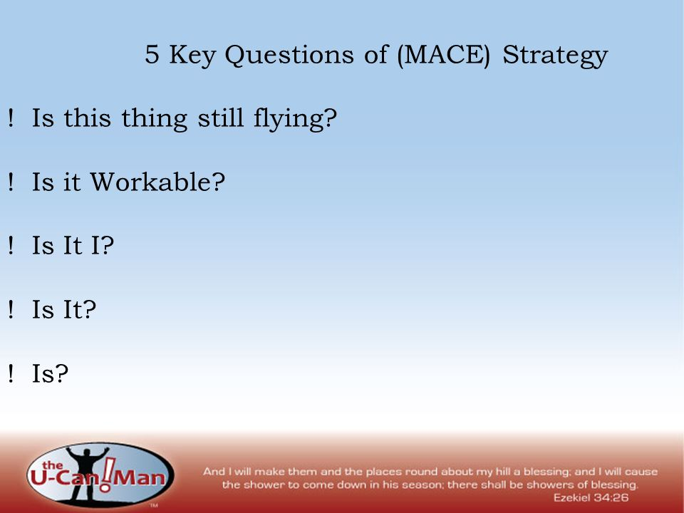 5 Key Questions of (MACE) Strategy . Is this thing still flying.