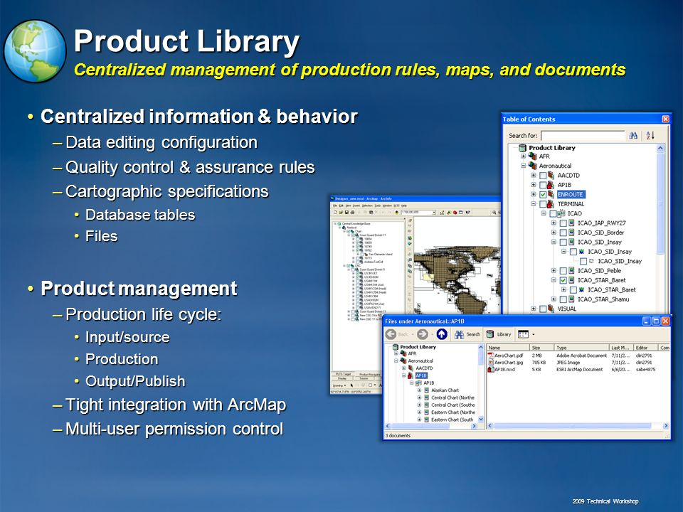Product Library Centralized management of production rules, maps, and documents Centralized information & behaviorCentralized information & behavior –Data editing configuration –Quality control & assurance rules –Cartographic specifications Database tablesDatabase tables FilesFiles Product managementProduct management –Production life cycle: Input/sourceInput/source ProductionProduction Output/PublishOutput/Publish –Tight integration with ArcMap –Multi-user permission control 2009 Technical Workshop