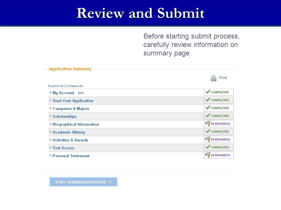 Review and Submit Before starting submit process, carefully review information on summary page.