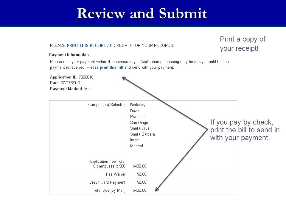 If you pay by check, print the bill to send in with your payment. Print a copy of your receipt!