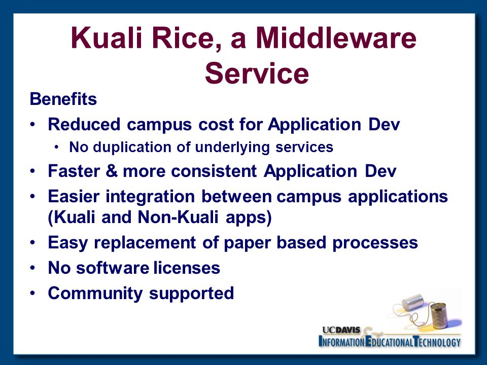 Kuali Rice, a Middleware Service Benefits Reduced campus cost for Application Dev No duplication of underlying services Faster & more consistent Application Dev Easier integration between campus applications (Kuali and Non-Kuali apps) Easy replacement of paper based processes No software licenses Community supported