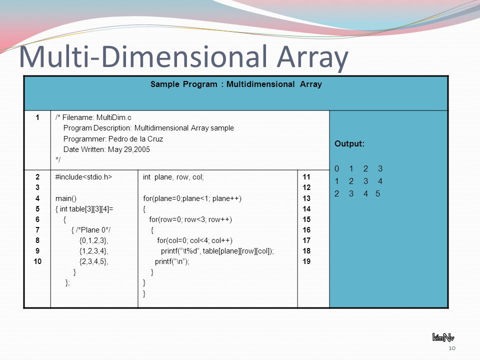 10 Multi-Dimensional Array Sample Program : Multidimensional Array 1/* Filename: MultiDim.c Program Description: Multidimensional Array sample Programmer: Pedro de la Cruz Date Written: May 29,2005 */ Output: #include main() { int table[3][3][4]= { { /*Plane 0*/ {0,1,2,3}, {1,2,3,4}, {2,3,4,5}, } }; int plane, row, col; for(plane=0;plane<1; plane++) { for(row=0; row<3; row++) { for(col=0; col<4; col++) printf(\t%d, table[plane][row][col]); printf(\n); }