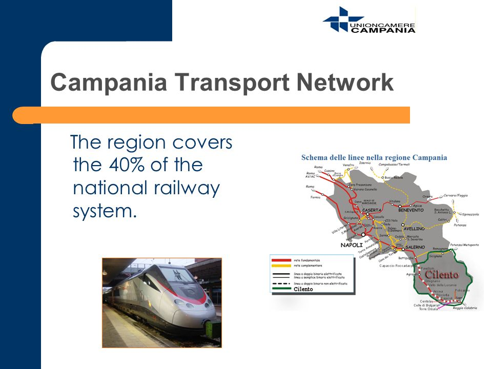 Campania Transport Network The region covers the 40% of the national railway system.