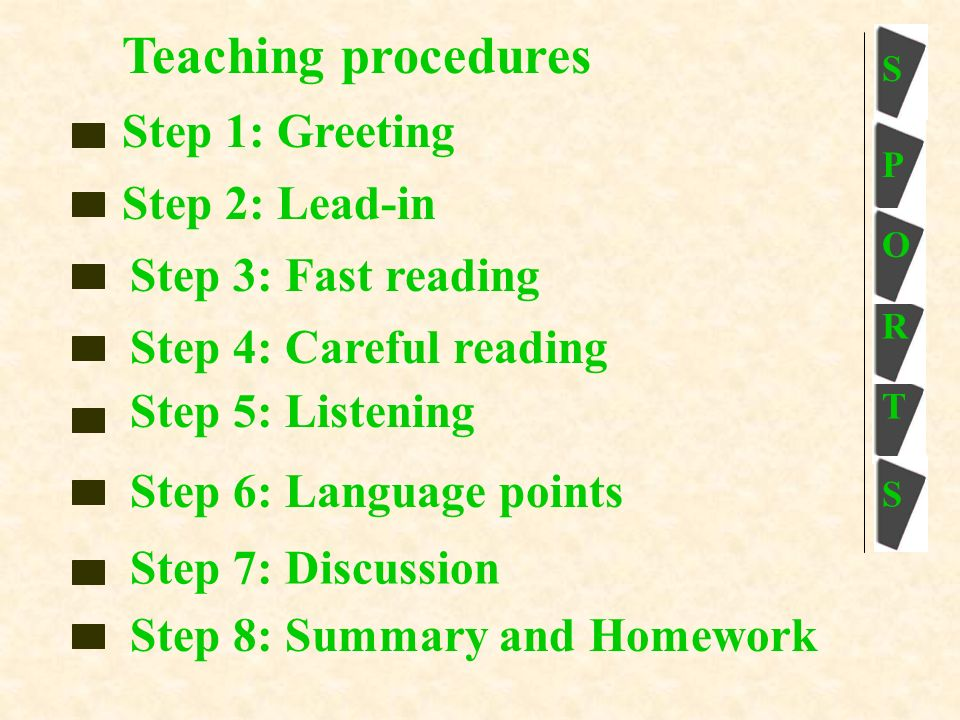S P O T S S Teaching procedures Step 1: Greeting Step 2: Lead-in Step 3: Fast reading Step 4: Careful reading Step 5: Listening Step 6: Language points Step 7: Discussion Step 8: Summary and Homework R
