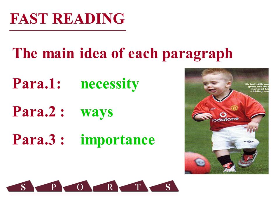 Para.1: necessity Para.2 : ways Para.3 : importance The main idea of each paragraph FAST READING SPORTS