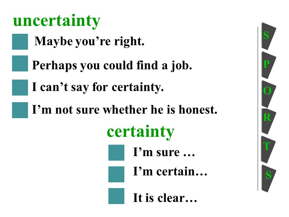 certainty Maybe youre right. Perhaps you could find a job.