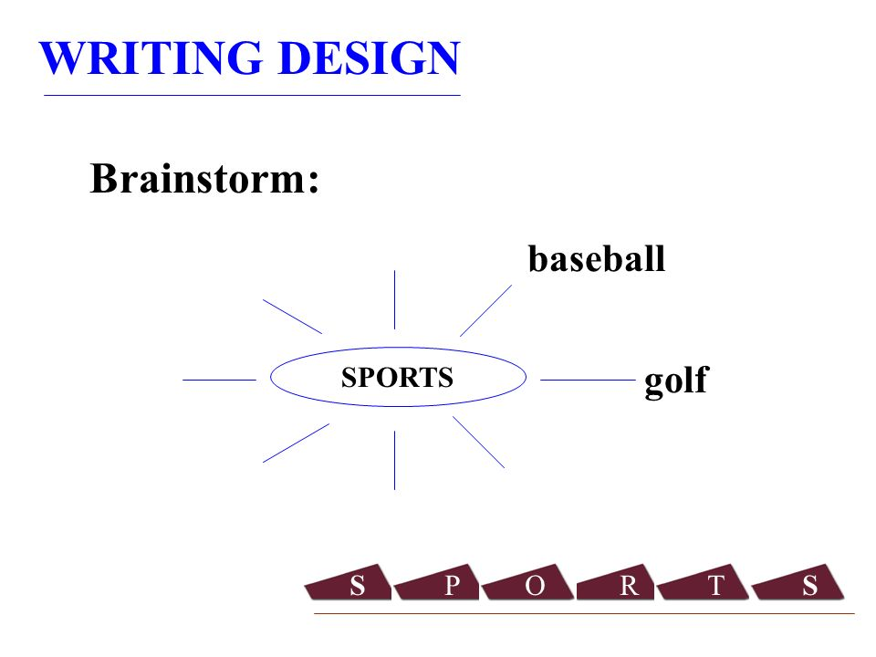 WRITING DESIGN Brainstorm: SPORTS golf baseball SPORTS