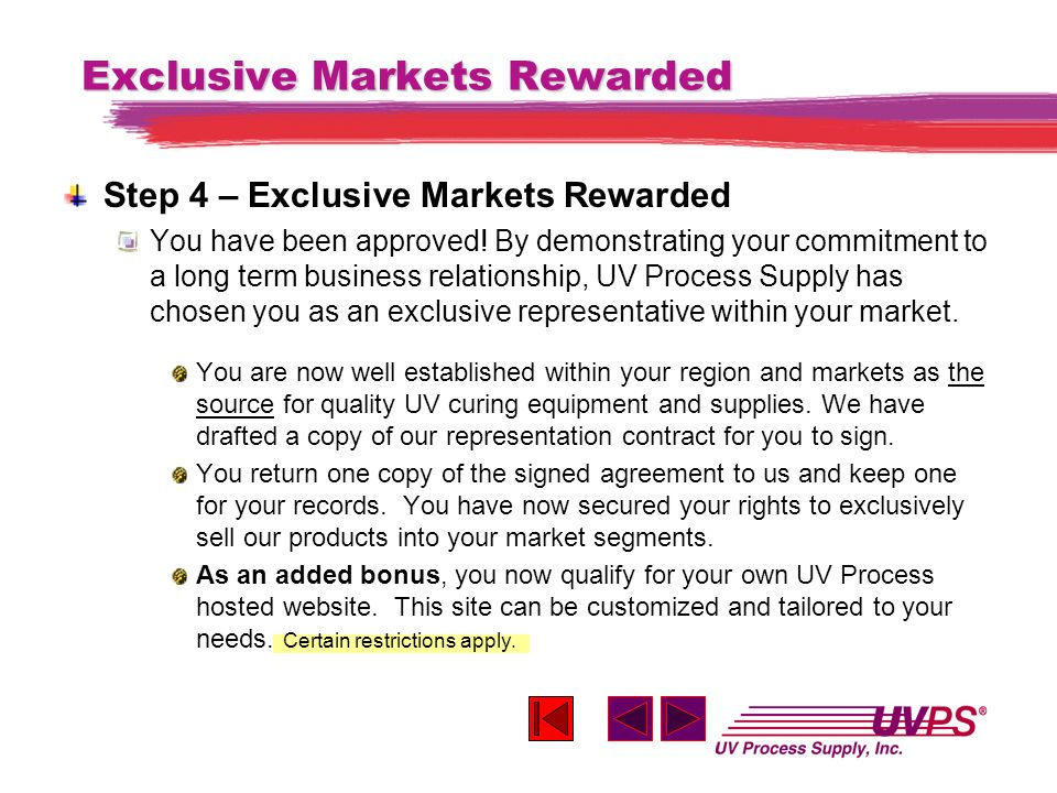 Exclusive Markets Rewarded Step 4 – Exclusive Markets Rewarded You have been approved.