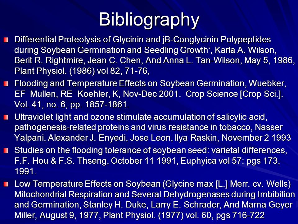Bibliography Differential Proteolysis of Glycinin and jB-Conglycinin Polypeptides during Soybean Germination and Seedling Growth, Karla A.
