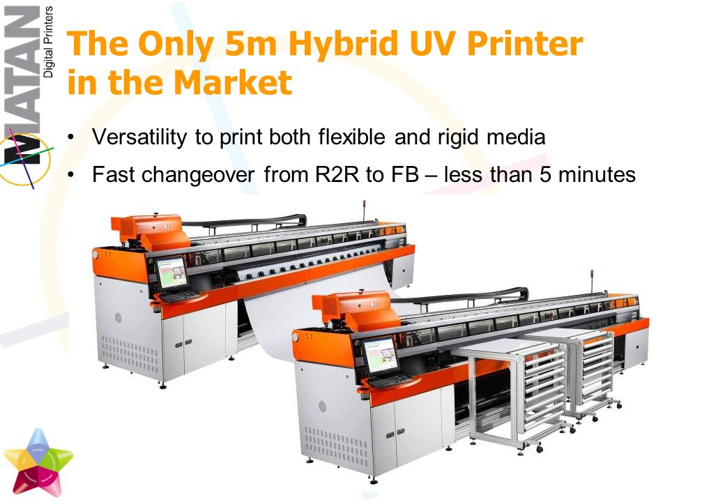 The Only 5m Hybrid UV Printer in the Market Versatility to print both flexible and rigid media Fast changeover from R2R to FB – less than 5 minutes