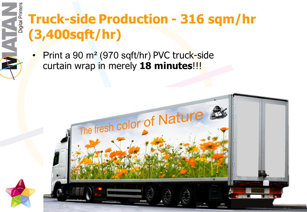 Print a 90 m² (970 sqft/hr) PVC truck-side curtain wrap in merely 18 minutes!!.