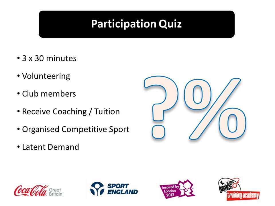 3 x 30 minutes Volunteering Club members Receive Coaching / Tuition Organised Competitive Sport Latent Demand Participation Quiz