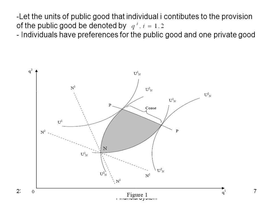 23 March BruegelThe Future Face of Europes Financial System 7 -Let the units of public good that individual i contibutes to the provision of the public good be denoted by - Individuals have preferences for the public good and one private good