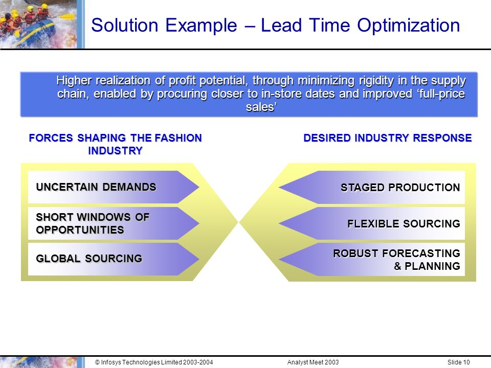 Analyst Meet 2003© Infosys Technologies Limited Slide 9 Infosys Strategy Market Needs »Effective Solutions to Business Issues »Business needs vary across retail segments and functional areas »Need for true end-to-end retail business/ functional understanding and execution excellence »Need for win-win alliances for successful implementations Infosys Strategy »Solutions Approach for better business alignment and higher value-for-money in IT spend »Focus on a set of Retail Solutions that address specific pain points of retailers, leveraging GDM and existing service offerings »Utilize close, well managed alliances with applications providers to enhance the quality and innovativeness of solutions »RIBU Internal Structure aligned to address market needs »Retail industry focused sales supported by execution excellence through strong business/ domain and technology expertise