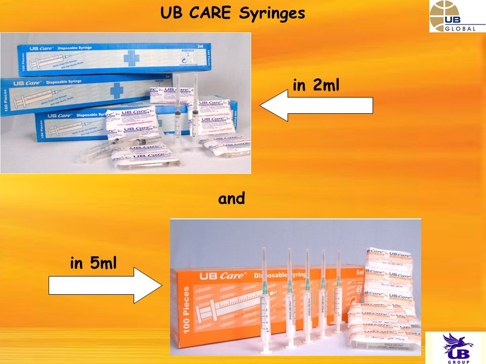 UB CARE Syringes in 5ml and in 2ml