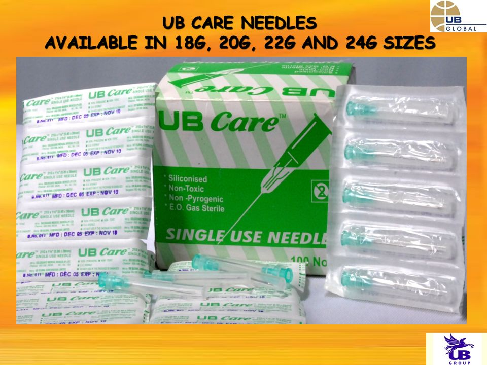 UB CARE NEEDLES AVAILABLE IN 18G, 20G, 22G AND 24G SIZES