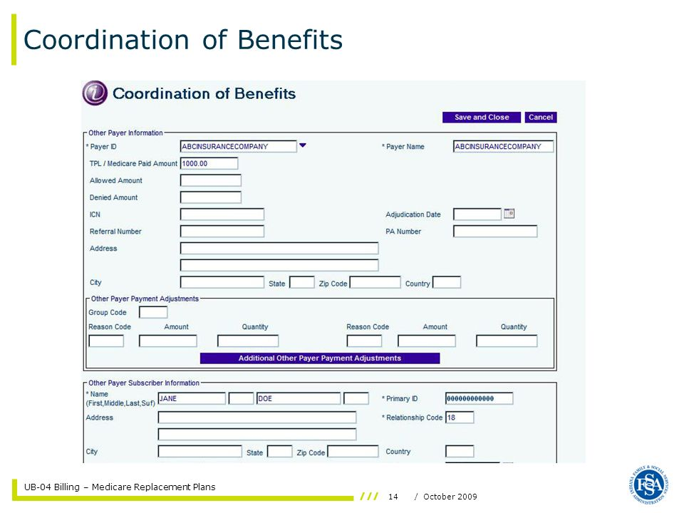 UB-04 Billing – Medicare Replacement Plans 14/ October 2009 Coordination of Benefits
