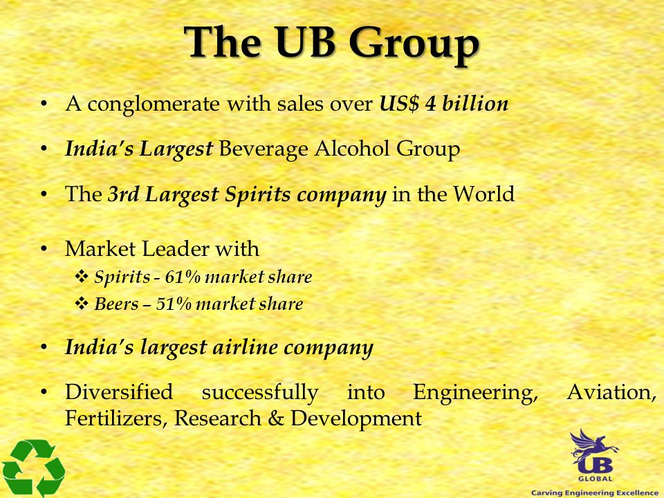 The UB Group A conglomerate with sales over US$ 4 billion Indias Largest Beverage Alcohol Group The 3rd Largest Spirits company in the World Market Leader with Spirits - 61% market share Beers – 51% market share Indias largest airline company Diversified successfully into Engineering, Aviation, Fertilizers, Research & Development