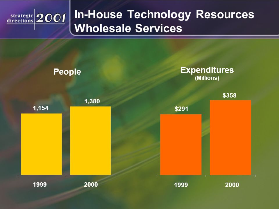 In-House Technology Resources Wholesale Services Expenditures (Millions) People 1,380 19992000 1,154 $358 19992000 $291