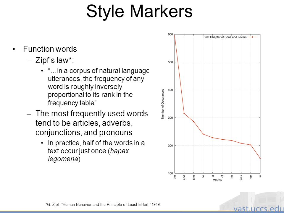 17 Style Markers Function words –Zipfs law*: …in a corpus of natural language utterances, the frequency of any word is roughly inversely proportional to its rank in the frequency table –The most frequently used words tend to be articles, adverbs, conjunctions, and pronouns In practice, half of the words in a text occur just once (hapax legomena) *G.