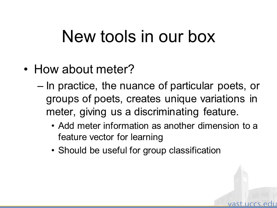 46 New tools in our box How about meter.