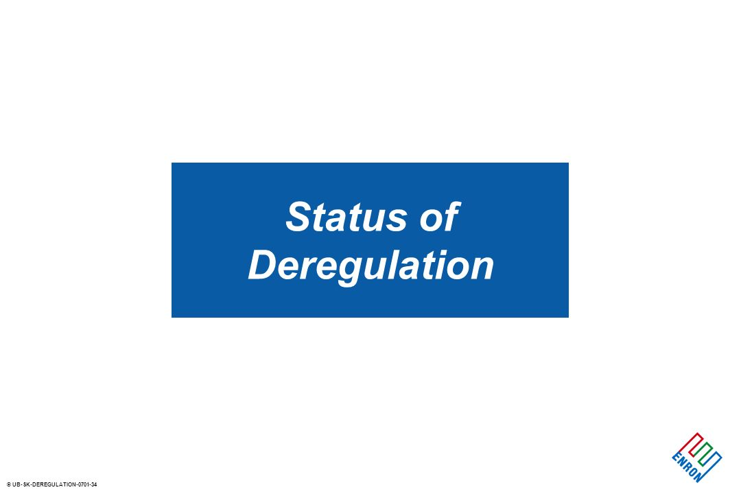 © UB-SK-DEREGULATION Status of Deregulation