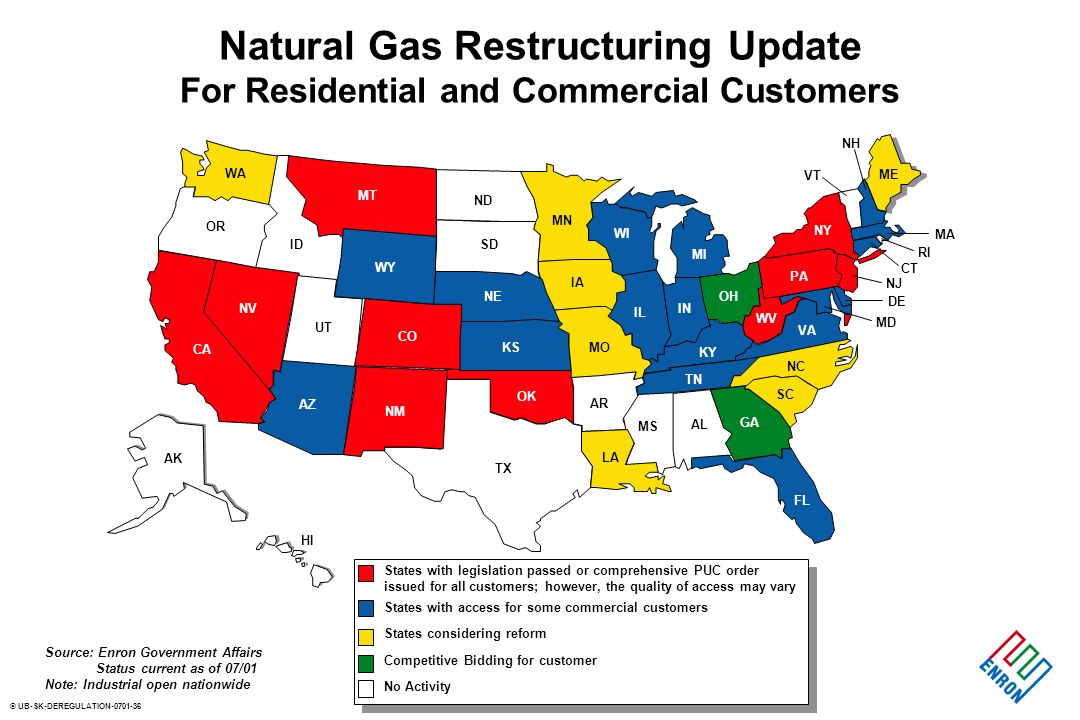 © UB-SK-DEREGULATION Natural Gas Restructuring Update For Residential and Commercial Customers Source: Enron Government Affairs Status current as of 07/01 Note: Industrial open nationwide States with legislation passed or comprehensive PUC order issued for all customers; however, the quality of access may vary States with access for some commercial customers States considering reform Competitive Bidding for customer No Activity