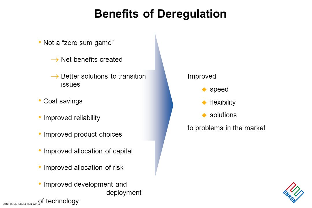 © UB-SK-DEREGULATION Benefits of Deregulation Not a zero sum game Net benefits created Better solutions to transition issues Cost savings Improved reliability Improved product choices Improved allocation of capital Improved allocation of risk Improved development and deployment of technology Improved u speed u flexibility u solutions to problems in the market