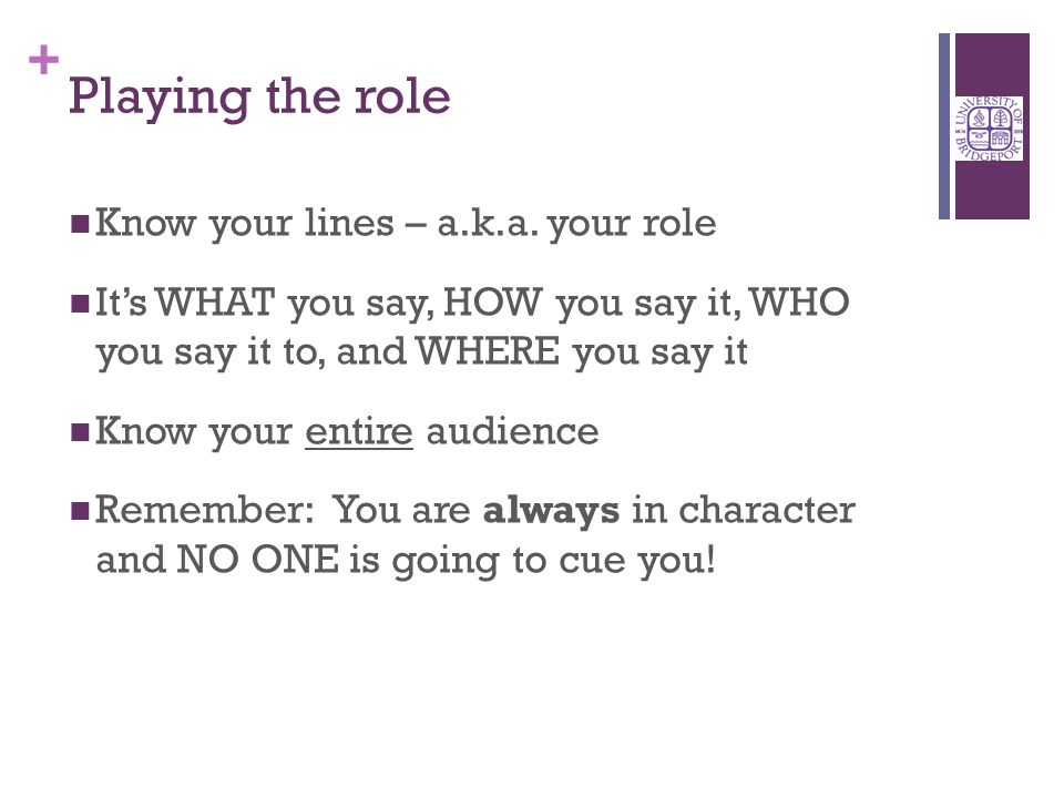 + Playing the role Know your lines – a.k.a.