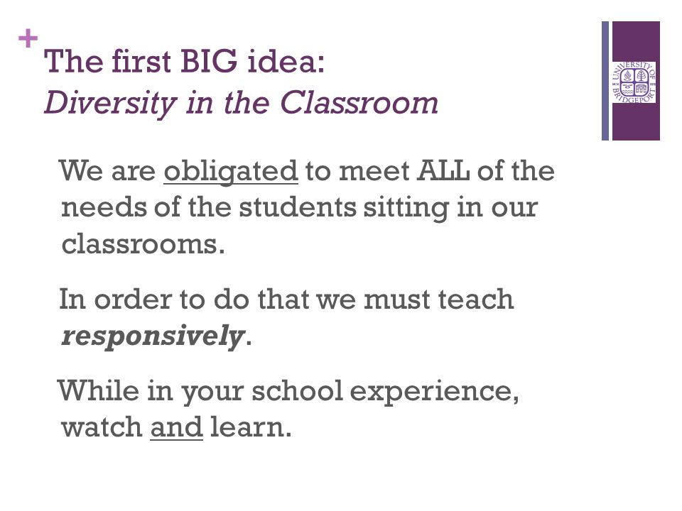 + The first BIG idea: Diversity in the Classroom We are obligated to meet ALL of the needs of the students sitting in our classrooms.