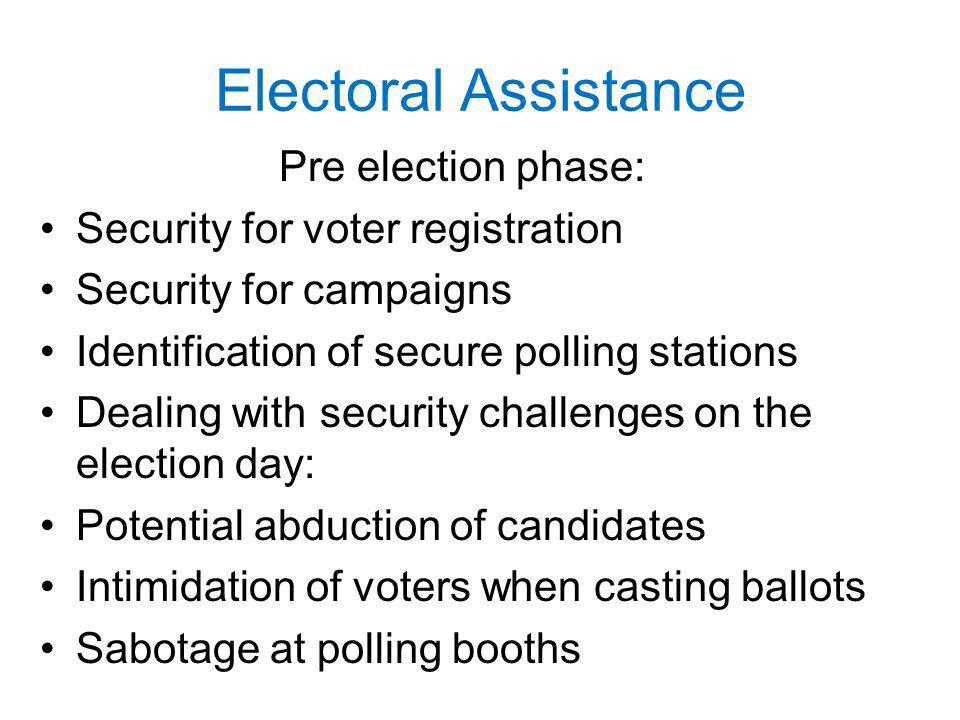 Electoral Assistance Pre­ election phase: Security for voter registration Security for campaigns Identification of secure polling stations Dealing with security challenges on the election day: Potential abduction of candidates Intimidation of voters when casting ballots Sabotage at polling booths