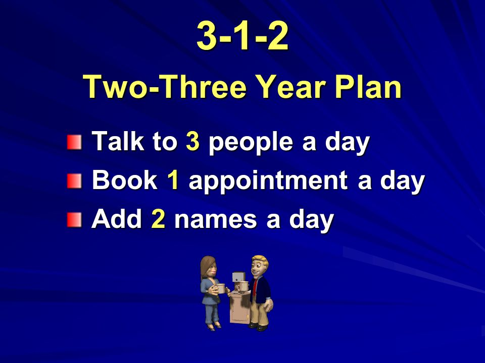 3-1-2 Two-Three Year Plan Talk to 3 people a day Talk to 3 people a day Book 1 appointment a day Book 1 appointment a day Add 2 names a day Add 2 names a day