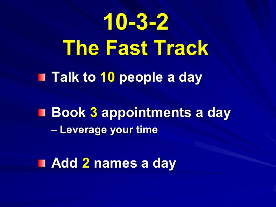 10-3-2 The Fast Track Talk to 10 people a day Talk to 10 people a day Book 3 appointments a day Book 3 appointments a day –Leverage your time Add 2 names a day Add 2 names a day
