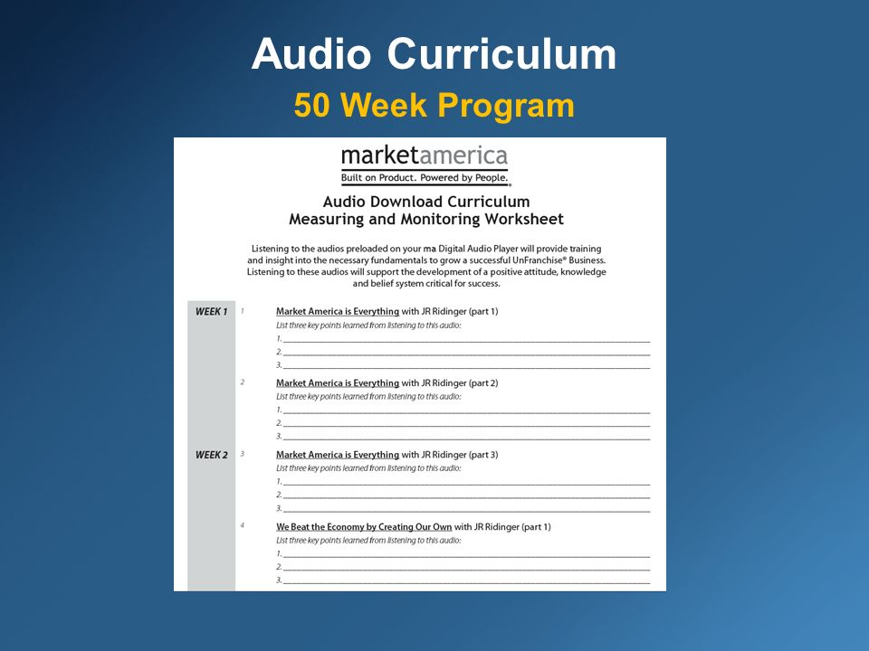 Audio Curriculum 50 Week Program