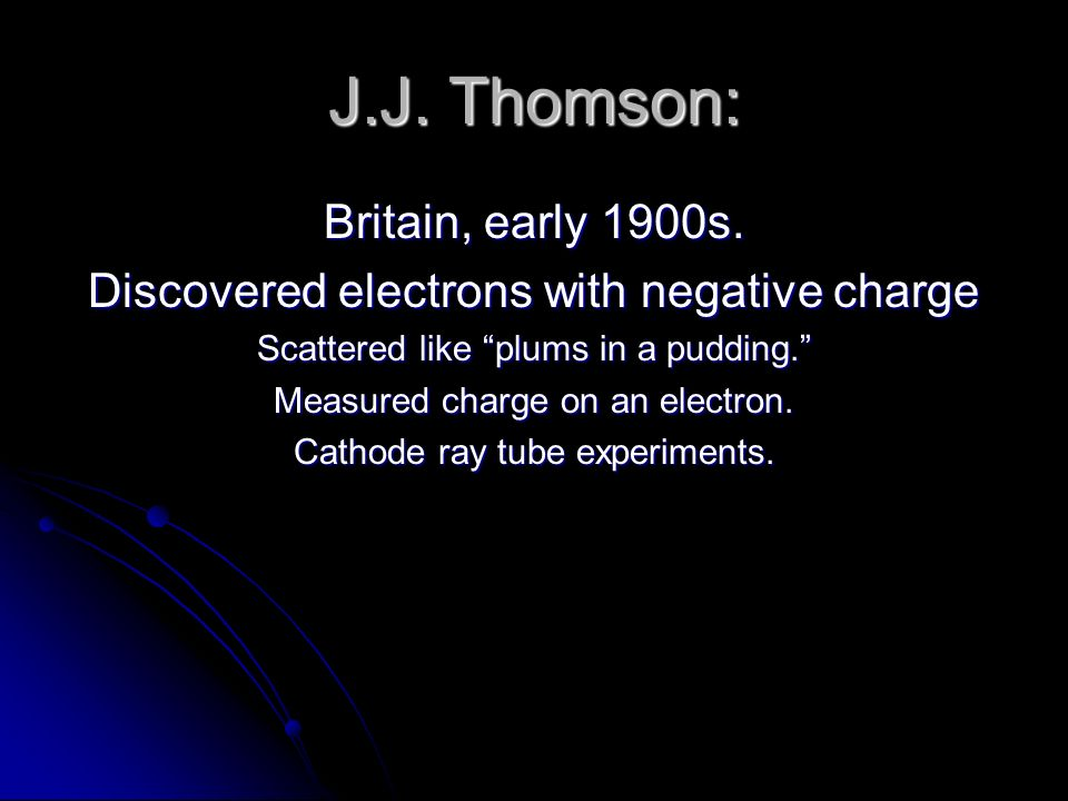 J.J. Thomson: Britain, early 1900s.