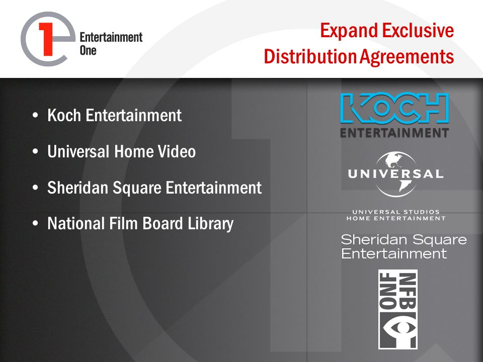 Expand Exclusive Distribution Agreements Koch Entertainment Universal Home Video Sheridan Square Entertainment National Film Board Library
