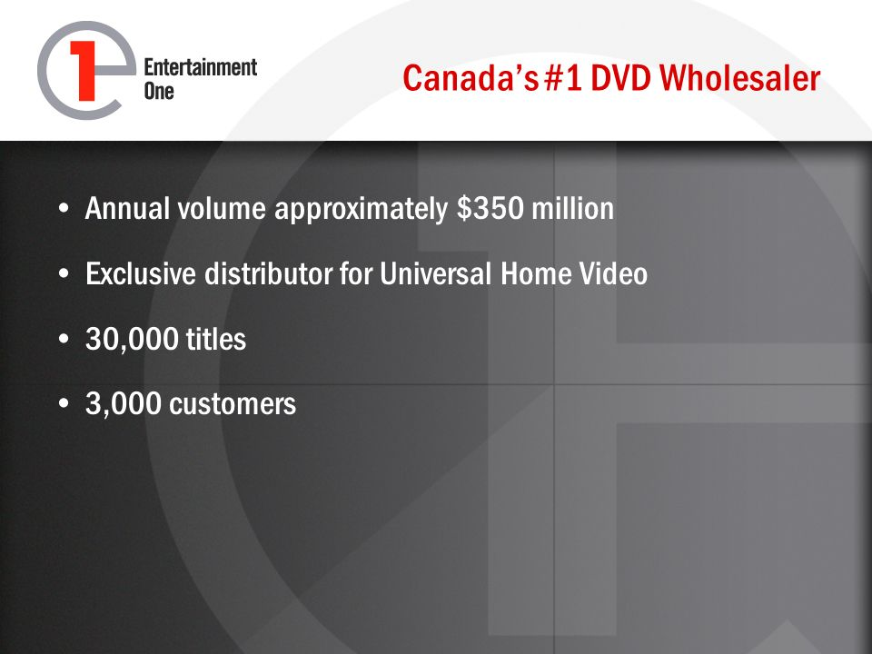 Canadas #1 DVD Wholesaler Annual volume approximately $350 million Exclusive distributor for Universal Home Video 30,000 titles 3,000 customers