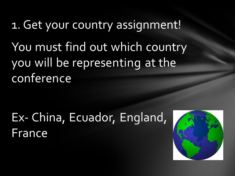 You must find out which country you will be representing at the conference Ex- China, Ecuador, England, France 1.
