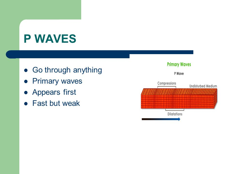 P WAVES Go through anything Primary waves Appears first Fast but weak