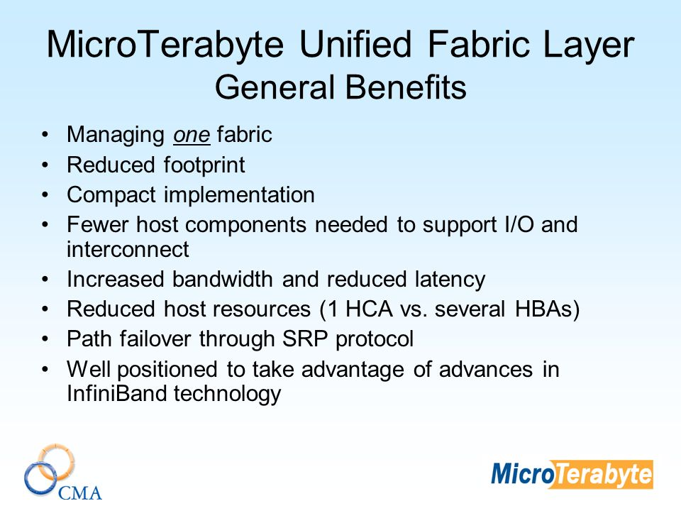 MicroTerabyte Unified Fabric Layer General Benefits Managing one fabric Reduced footprint Compact implementation Fewer host components needed to support I/O and interconnect Increased bandwidth and reduced latency Reduced host resources (1 HCA vs.