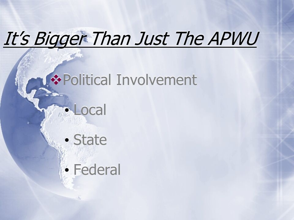 Its Bigger Than Just The APWU AFL-CIO affiliation Community Service Projects Charity Events Sponsorships AFL-CIO affiliation Community Service Projects Charity Events Sponsorships