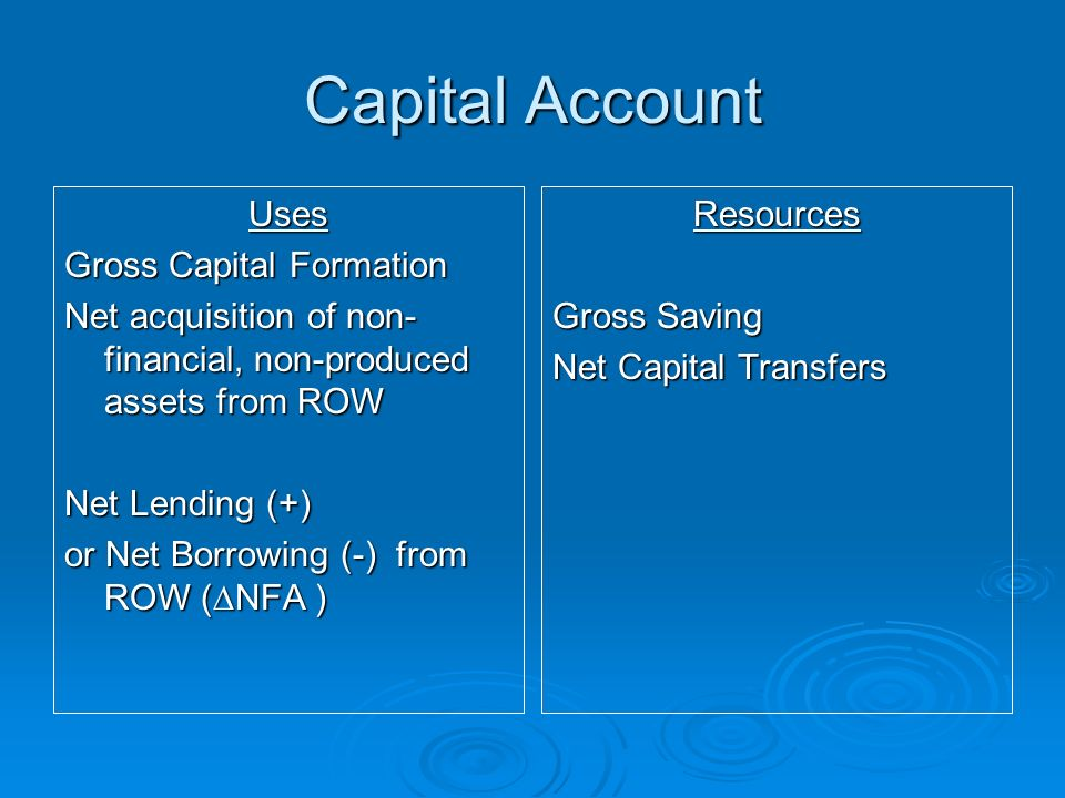 Capital Account Uses Gross Capital Formation Net acquisition of non- financial, non-produced assets from ROW Net Lending (+) or Net Borrowing (-) from ROW (NFA ) Resources Gross Saving Net Capital Transfers