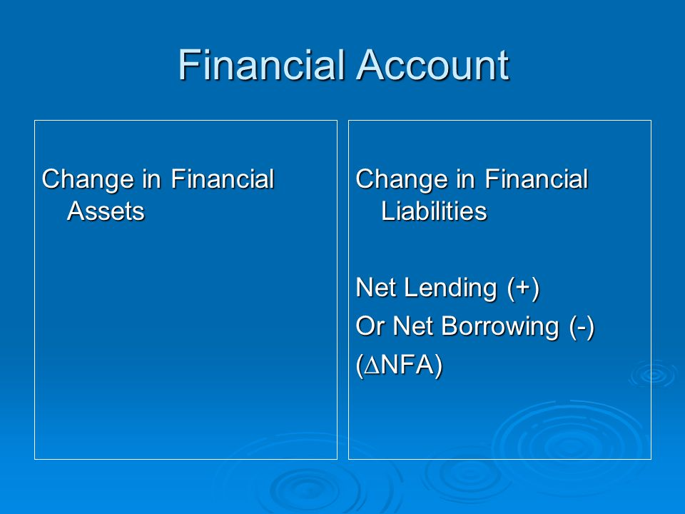 Financial Account Change in Financial Assets Change in Financial Liabilities Net Lending (+) Or Net Borrowing (-) (NFA)
