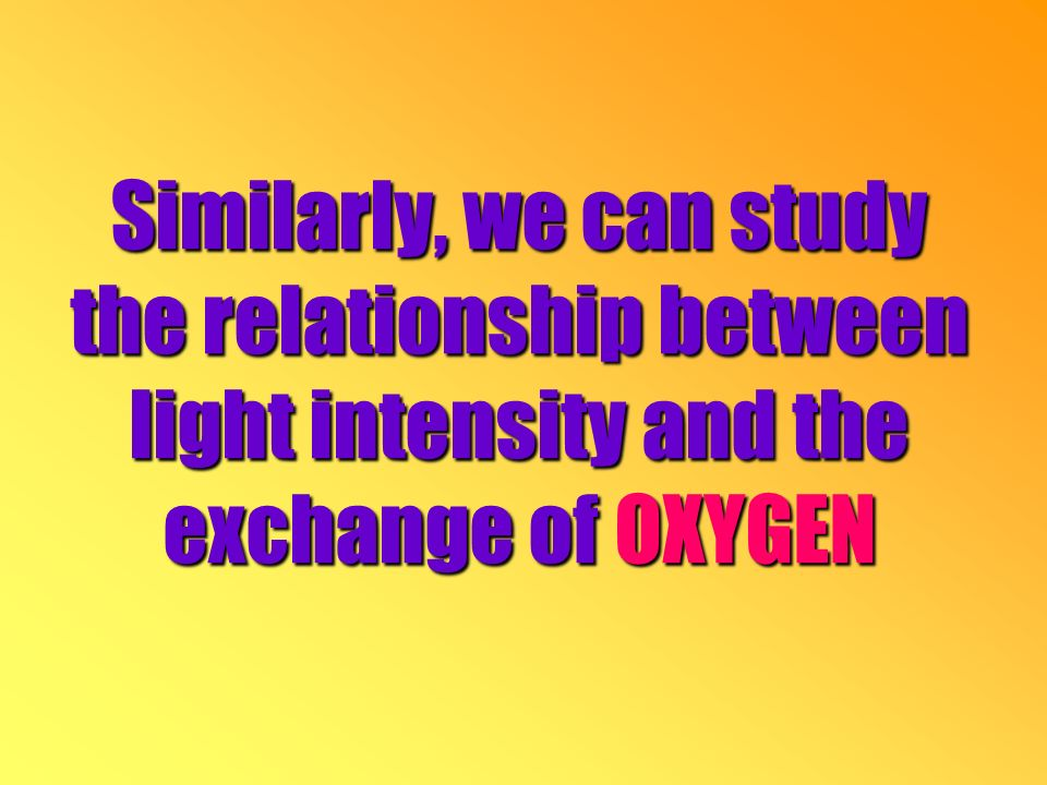 Similarly, we can study the relationship between light intensity and the exchange of OXYGEN
