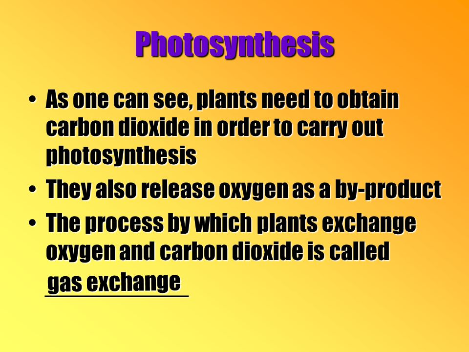 Photosynthesis As one can see, plants need to obtain carbon dioxide in order to carry out photosynthesisAs one can see, plants need to obtain carbon dioxide in order to carry out photosynthesis They also release oxygen as a by-productThey also release oxygen as a by-product The process by which plants exchange oxygen and carbon dioxide is calledThe process by which plants exchange oxygen and carbon dioxide is called ___________ ___________ gas exchange
